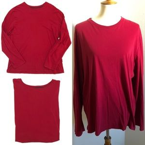 Banana Republic Red Fitted Crew Long Sleeve Shirt
